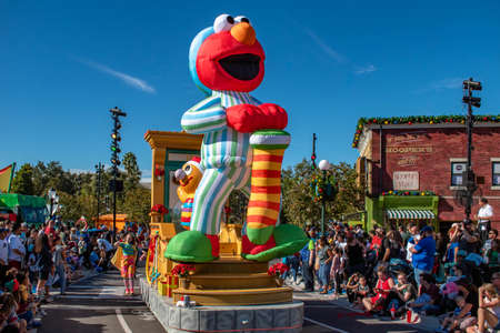 Orlando, Florida. December 07, 2019. Big Elmo float in Sesame Street Christmas Parade at Seaworld