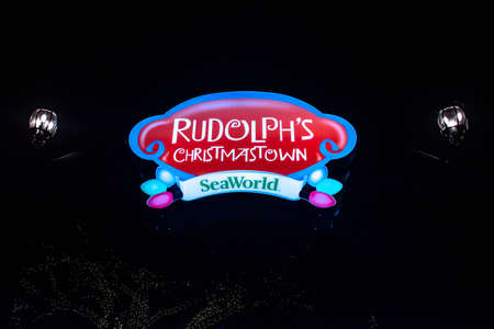 Orlando, Florida. December 30, 2019. Rudolphs Christmastown illuminated sing at Seaworld 1