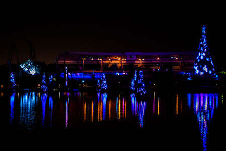 Orlando, Florida. December 27, 2019. Illuminated and colorful Sea of Christmas Trees and partial view of Bayside Stadium at Seaworld 124