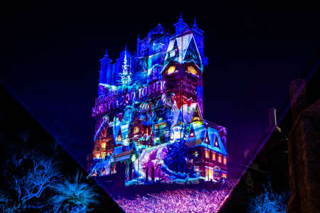 Orlando, Florida. January 03, 2020 Colorful projections on The Hollywood Tower Hotel at Hollywood Studios (47) Redactioneel