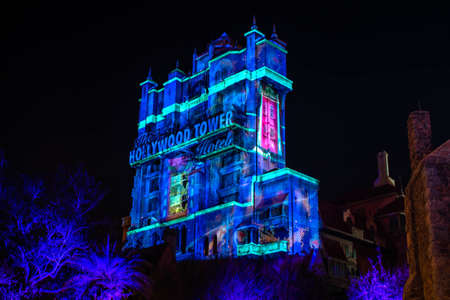 Orlando, Florida. January 03, 2020 Colorful projections on The Hollywood Tower Hotel at Hollywood Studios (45) Editorial