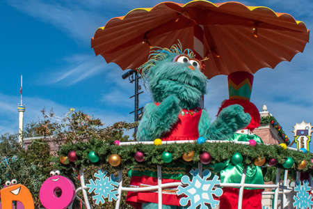 Orlando, Florida. December 07, 2019. Rosita in Sesame Street Christmas Parade at Seaworld 5