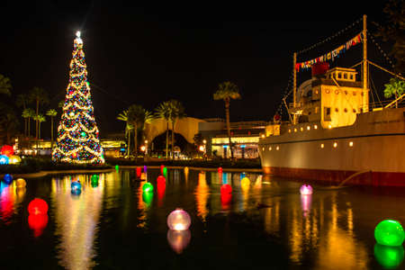 Orlando, Florida. January 03, 2020, Christmas tree, colorful balls and vintage ship at Hollywood Studios (186)