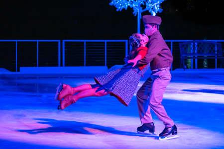 Orlando, Florida. November 27, 2020. Skaters in Winter Wonderland on Ice Show at Seaworld. (130) Standard-Bild - 167120784