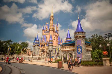 Orlando, Florida. September 21, 2020. Beautiful view of Cinderella Castle in Magic KIngdom (79)