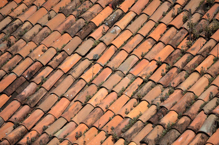 Clay tile roof Stock Photo