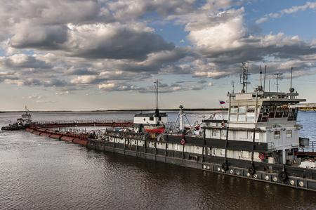 lena: A barge on the river Lena in Yakutia, republic Sakha