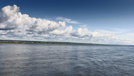 Kind of the river Lena coast from a boat, Yakutia, Russia