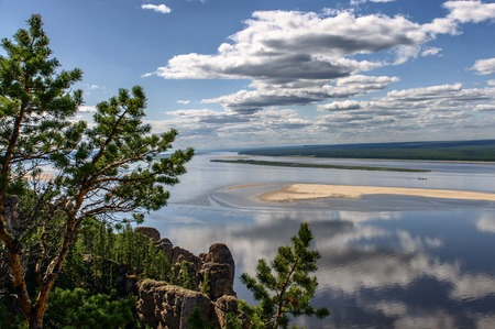 lena: View point of National heritage of Russia Lena Pillars placed in republic Sakha, Siberia Stock Photo
