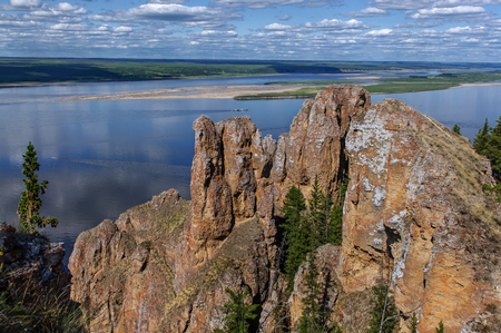View point of National heritage of Russia Lena Pillars placed in republic Sakha, Siberia Stock Photo