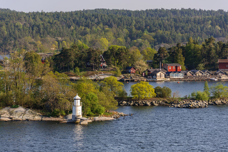 Sweden spring scenery, Stokholm district, view from boat Banque d'images