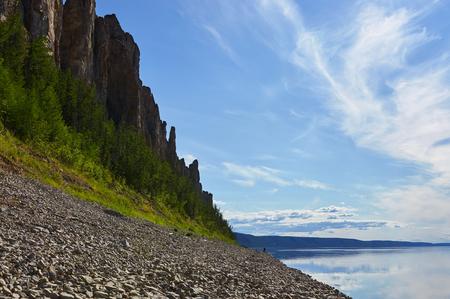 Shore of Lena river near national park in Yakutia