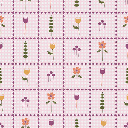 Vector orange, purple, pink, and gold floral seamless repeating pattern background. Perfect for fabric, wallpaper, scrapbooking projects. Ilustração