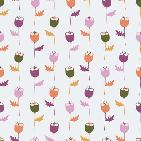 Vector orange, purple, pink, and green tulip flowers seamless repeating pattern background. Perfect for fabric, wallpaper, scrapbooking projects.