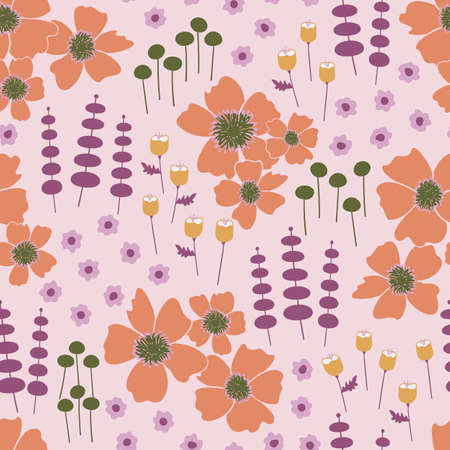 Vector orange, purple, pink, and gold flowers seamless repeating pattern background. Perfect for fabric, wallpaper, scrapbooking projects.