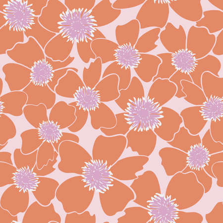 Vector orange, purple, and pink flowers seamless repeating pattern background. Perfect for fabric, wallpaper, scrapbooking projects.