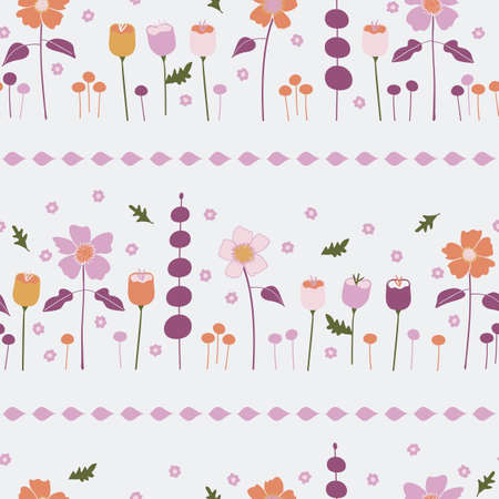 Vector orange, purple, pink, and gold fall flowers seamless repeating pattern background. Perfect for fabric, wallpaper, scrapbooking projects. Ilustração