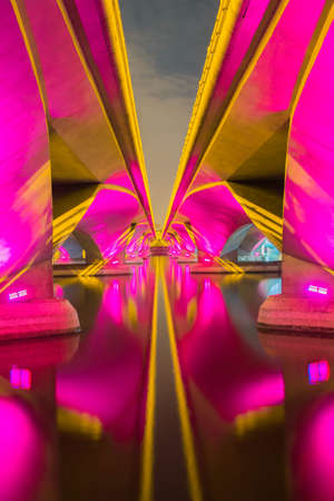 A light show and shadow of under Bridge, Singapore.