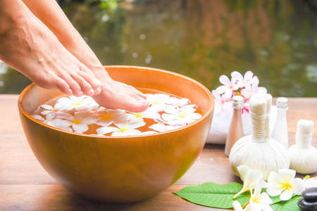 Spa massage compress balls, herbal ball on the wooden with treaments spa , Thailand, soft and select focu