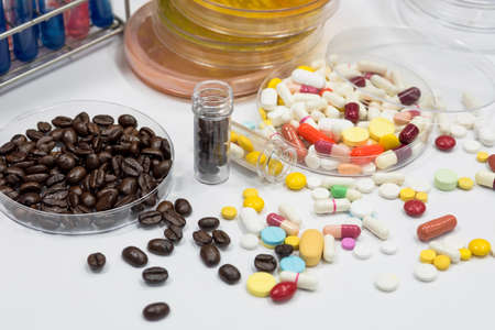 Drug and coffee test in laboratory,pathogen culture for drug and coffee.
