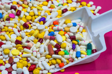 Variety of colorful medication . Top View, Closeup. Use for background.