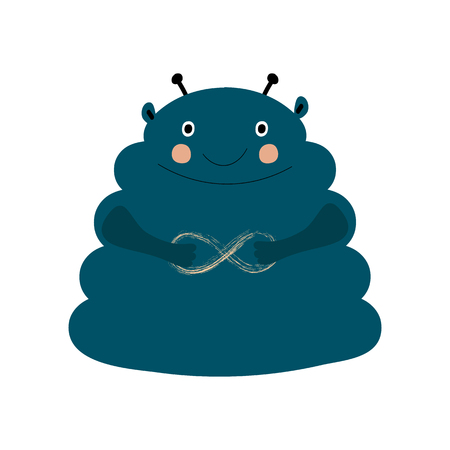 Nursery poster with cute smiling happy doodle wild monster alien navy blue color with infinity sign. Ideal for kids rooms, cards, invitations and t-shirt fabric print in scandinavian style
