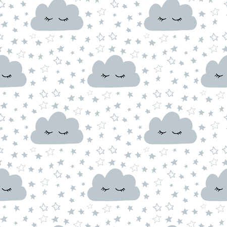 Seamless pattern with sleeping cloud face for kids with hand drawn stars bedtime elements doodle in Scandinavian style grey color monochrome