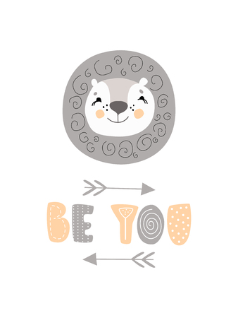 Cute hand doodle hand drawn nursery poster in scandinavian style, grey and yellow color art. Be you one slogan graphic for kids design with lion face. Illustration