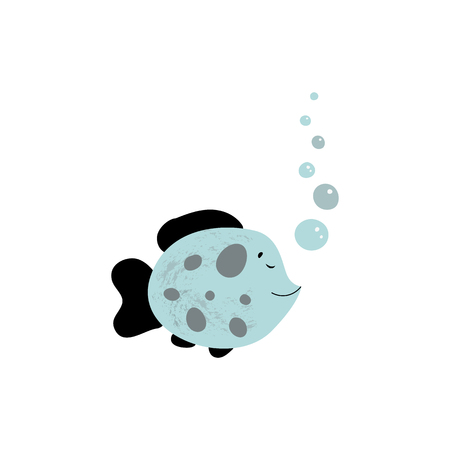 Nursery kids poster in Scandinavian style with sea animal fish in blue black grey color. Baby print. Cartoon background. Ideal for interior kids room. Illustration