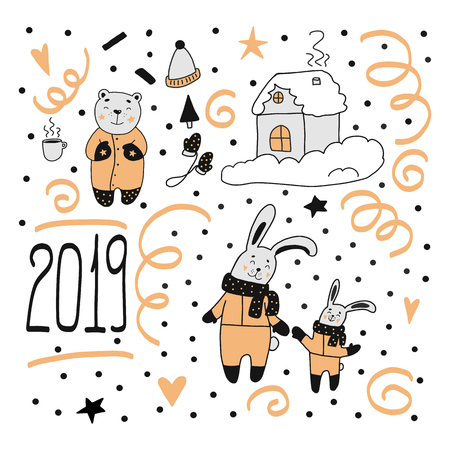 Happy new year 2019 merry christmas set. in black, yellow, grey colors. Handdrawn doodle characters illustration with lettering. Christmas card. Winter cold season. Vecteurs