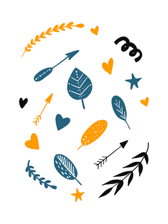 Cute set of scandinavian cartoon elements: arrows, feather, branch; leaf; hearts; stars in black blue yellow colors. White background isolated. Vector illustration. Illustration