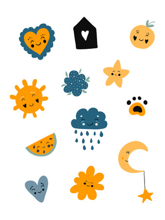 Poster cute set of scandinavian kids cartoon characters: arrows, feather, branch; leaf; hearts; stars in black blue yellow colors. Vector illustration.Yellow, blue, black.