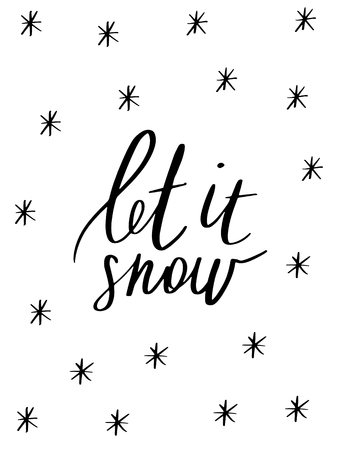 Let it snow - Hand drawn holiday and Christmas vector typography. New Year card decoration. Quote isolated on background. Calligraphy lettering