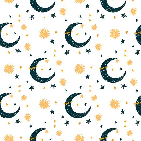 Seamless pattern with cartoon new moon character & stars. Yellow color on blue background. For kids. Ideal for textile.