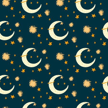 Dark Seamless pattern with cartoon new moon character & stars. Yellow color on blue background. For kids. Ideal for textile.