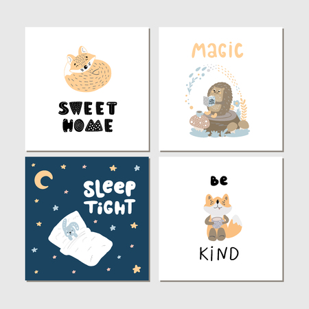 Collection of children cards with cute wild cartoon animals and lettering. Perfect for nursery posters