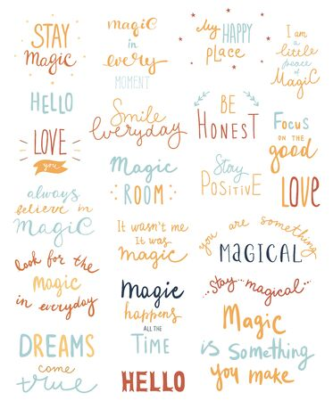 Big set of magic lettering phrases and words. Vector illustration - Vector