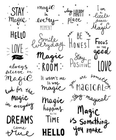 Big set of magic lettering phrases and words. Vector illustration - Vector.