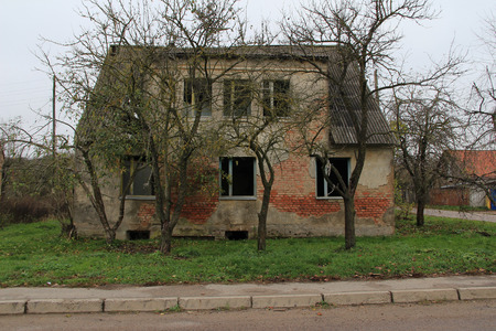 the old and strongly destroyed house in the village,another perspective