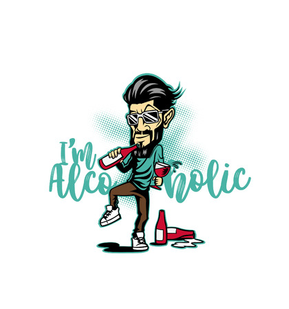Alcoholic hipster male with typography