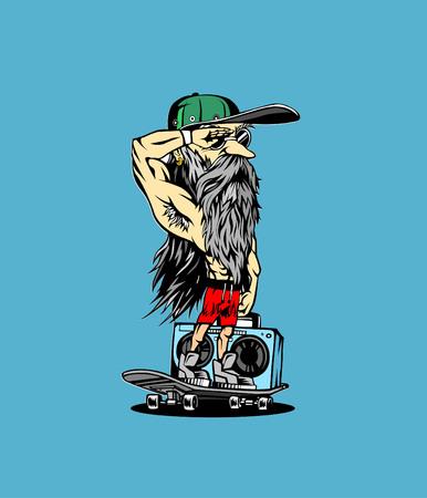 손으로 그린 hipster 남성 모자입니다. 일러스트