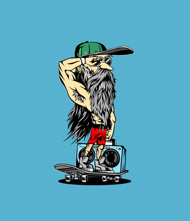 Hand drawn hipster male with cap. Illustration