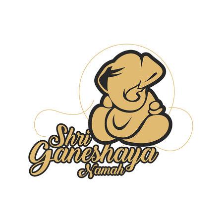 Vector Ganesh ilustração com tipografia. Design minimalista e de alta qualidade. Foto de archivo - 93218109