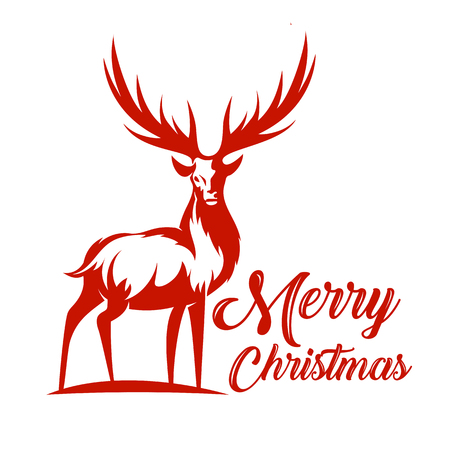 Vector reindeer with typography Illustration for multi usage like icon, t-shirt, advertisement or other Stok Fotoğraf - 93223214