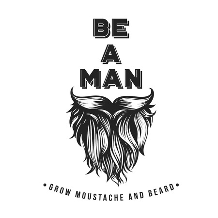 Vector Bearded Hipster Typography. Hand drawn style with No Shave November topic Illustration
