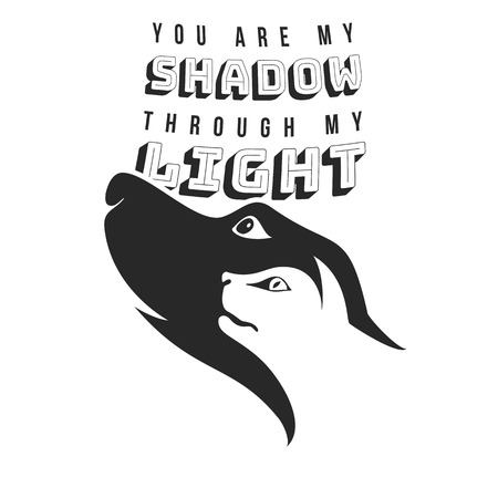 Vector shadow through my light Illustration with typography for multi usage like banner, t-shirt, advertisement or other