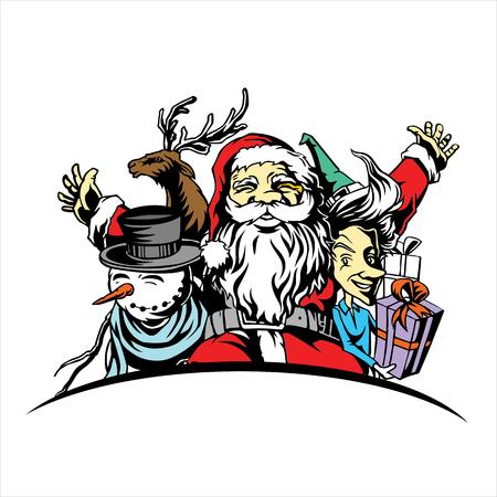 타이 포 그래피와 벡터 메리 크리스마스 로고, 티셔츠, 광고 또는 다른 같은 멀티 사용에 대 한 그림 일러스트