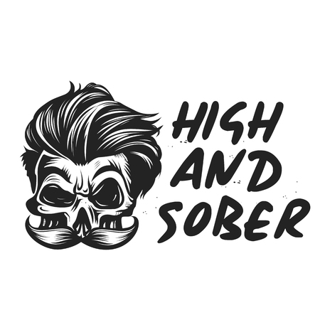 Vector Beardman hipter design with High and Sober typography. Modern and High-quality design Illustration