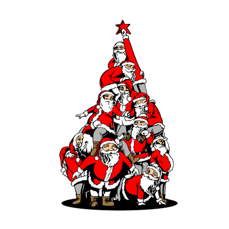 Vector santa tree with Illustration for multi usage like logo, t-shirt, advertisement or other Иллюстрация