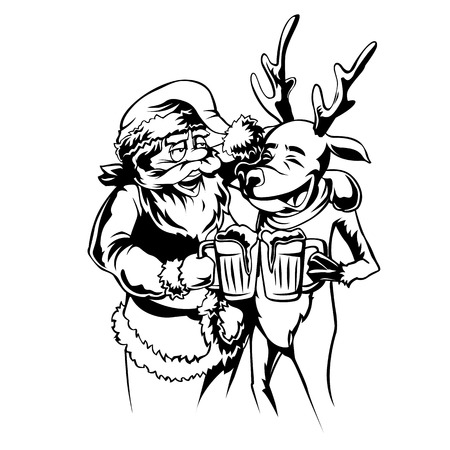 Vector Santa and raindeer illustration.Minimal and High quality design. Stock Illustratie